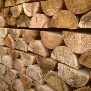 1.8m (6ft) x 100mm (4 inch) half-round wooden posts