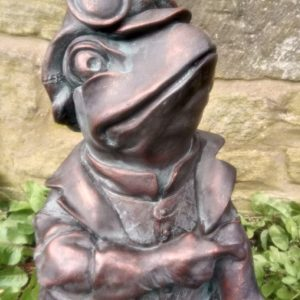 Wind in the Willows Garden Sculpture of Toad of Toad Hall, hand finished with an aged verde finish – 50cm tall!