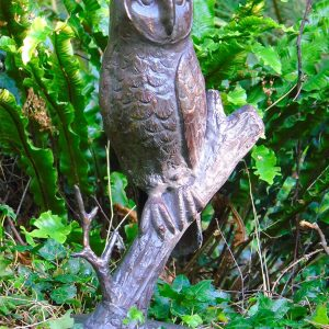 Owl on Branch – Cast Iron with an Aged Bronzed Finish 40cm tall