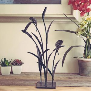 Charming pair of field mice ornament made from cast iron – 48cm tall