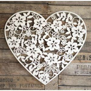 White Beautiful Flower Heart wall art plaque screen – 59cm Tall