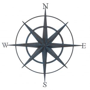 Round 86cm Blue Finished Metal Compass Screen