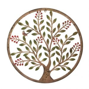 Wonderful 60cm dia. Berry Tree rustic round steel metal wall art plaque