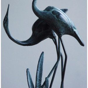 Cranes in love Garden Statue. Cast in Iron with Aged Bronze Finish