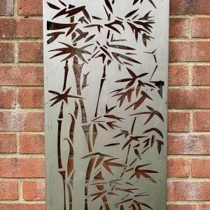 2mm Core-Ten steel rustic Bamboo wall plaque 775 x 400mm
