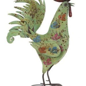 Delightful Green Painted metal Cockerel sculpture garden ornament – ideal for garden or indoors!
