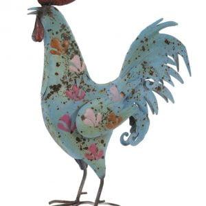 Delightful Blue Painted metal Cockerel sculpture garden ornament – ideal for garden or indoors!