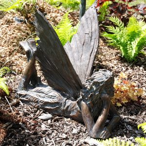 Delightful Laying Fairy Garden Ornament Sculpture 70cm long aged bronze effect